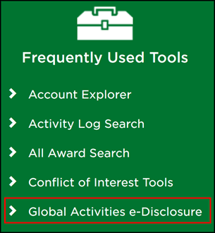 Global Activities e-Disclosure link indicated in the Frequently Used Tools box