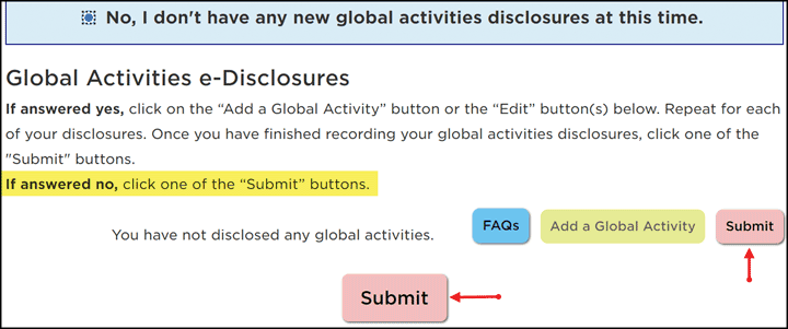 Submit Buttons indicated when the No option is selected