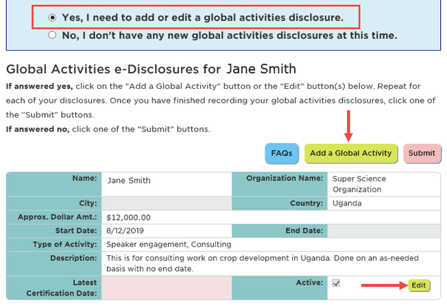 Add a Global Activity button and a disclosure Edit button