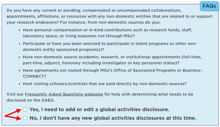 Yes and no question responses highlighted beneath the Global Activities Disclosure form question